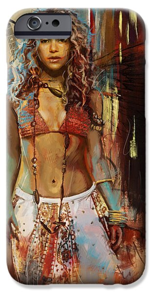 Celebrities Art Paintings iPhone Cases - Shakira  iPhone Case by Corporate Art Task Force