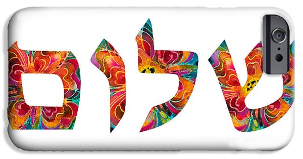 Chanukah iPhone Cases - Shalom 12 - Jewish Hebrew Peace Letters iPhone Case by Sharon Cummings