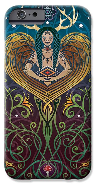 Cosmic iPhone Cases - Shaman v.2 iPhone Case by Cristina McAllister
