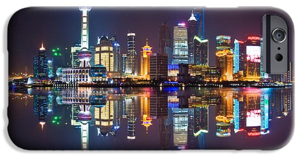 Finance iPhone Cases - Shanghai reflections iPhone Case by Delphimages Photo Creations
