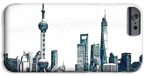 Sears Tower Mixed Media iPhone Cases - Shanghai Skyline iPhone Case by Celestial Images