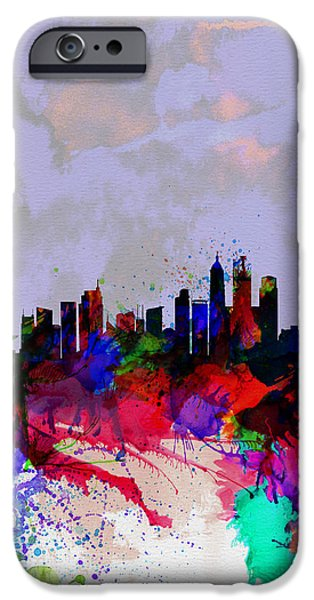 Asia iPhone Cases - Shanghai Watercolor Skyline iPhone Case by Naxart Studio