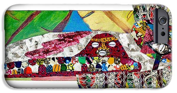 Tribal Tapestries - Textiles iPhone Cases - Shango Firebird iPhone Case by Apanaki Temitayo M