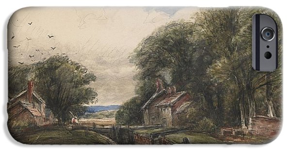 Landscape With Figure iPhone Cases - Shardlow Lock with the Lock keepers Cottage iPhone Case by James Orrock