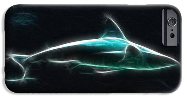 Artistic Fish Abstraction iPhone Cases - Shark-09436-Fractal iPhone Case by Gary Gingrich Galleries