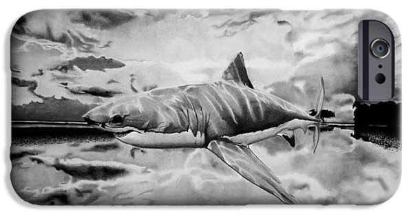 Shark Drawings iPhone Cases - Shark Out Of Water iPhone Case by Jason Dunning