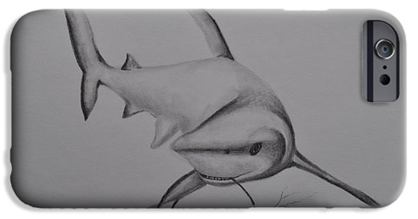 Shark Drawings iPhone Cases - Shark iPhone Case by Sally Rice