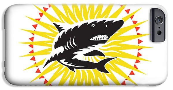 Shark iPhone Cases - Shark Swimming Up Sunburst Woodcut iPhone Case by Aloysius Patrimonio