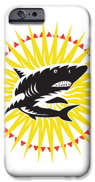 Shark Swimming Up Sunburst Woodcut iPhone Case by Aloysius Patrimonio