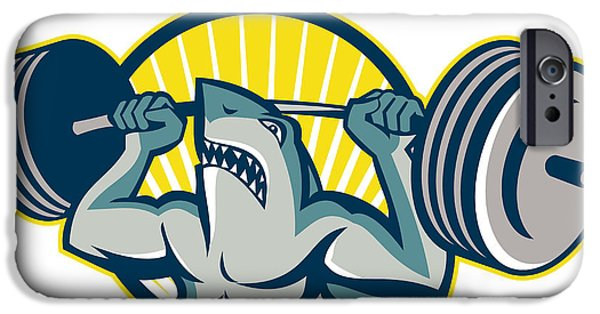 Shark iPhone Cases - Shark Weightlifter Lifting Barbell Mascot iPhone Case by Aloysius Patrimonio