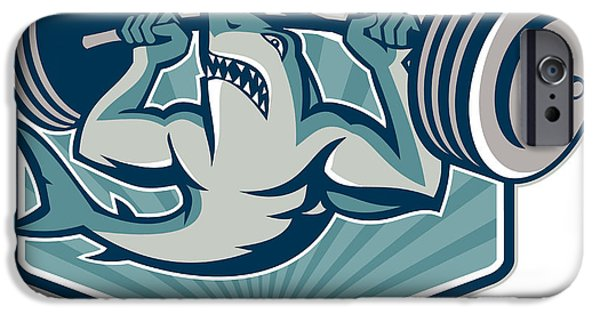Shark iPhone Cases - Shark Weightlifter Lifting Weights Mascot iPhone Case by Aloysius Patrimonio