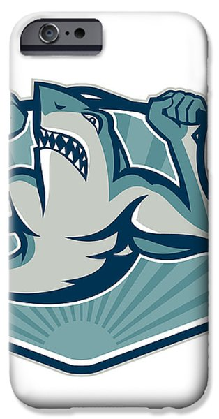 Shark Weightlifter Lifting Weights Mascot iPhone Case by Aloysius Patrimonio
