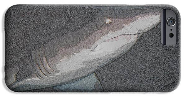 Shark Pyrography iPhone Cases - Sharkin iPhone Case by Michael Genova