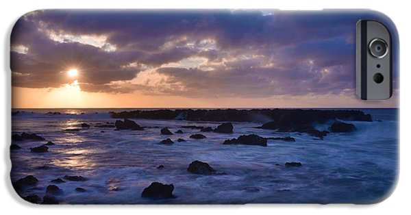 Tidal Photographs iPhone Cases - Sharks Cove Sunset 1 - Oahu Hawaii iPhone Case by Brian Harig