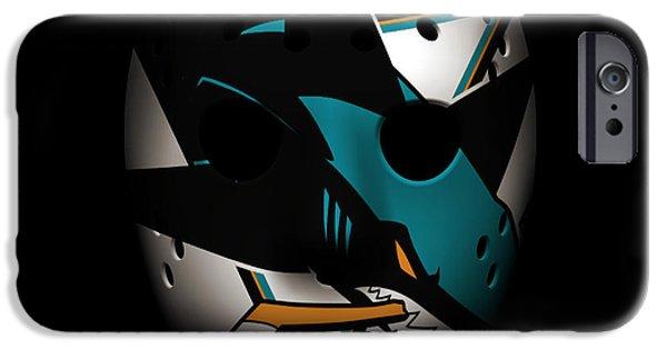 San Jose Sharks iPhone Cases - Sharks Goalie Mask iPhone Case by Joe Hamilton
