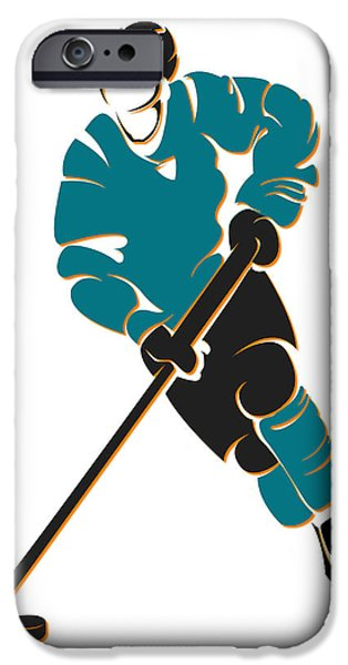 San Jose Sharks iPhone Cases - Sharks Shadow Player iPhone Case by Joe Hamilton