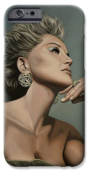 Celebrities Art iPhone Cases - Sharon Stone iPhone Case by Paul  Meijering