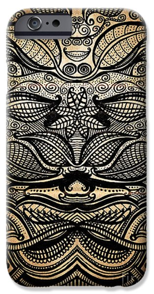 Detailed Drawings iPhone Cases - Sharpie on Cardboard iPhone Case by HD Connelly