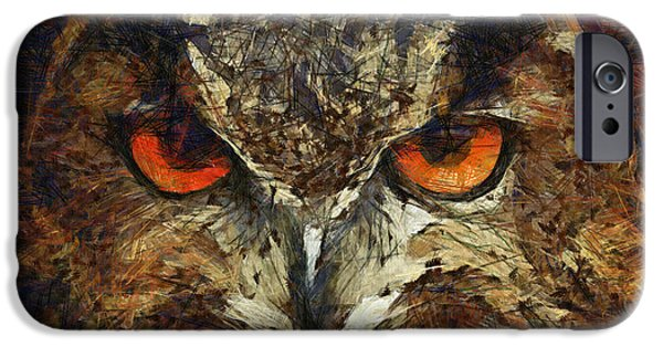 Color Drawings iPhone Cases - Sharpie Owl iPhone Case by Ayse Deniz