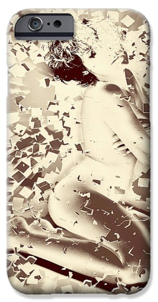 Bathing Mixed Media iPhone Cases - Shattered Dreams iPhone Case by Yvon van der Wijk
