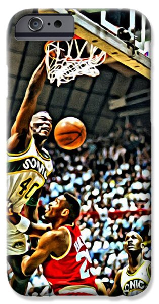 Kemp iPhone Cases - Shawn Kemp Painting iPhone Case by Florian Rodarte
