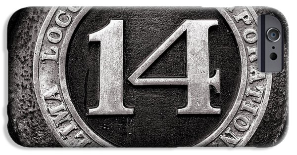 3.14 iPhone Cases - Shay 14 Lima Locomotive Number Plate iPhone Case by Ken Smith