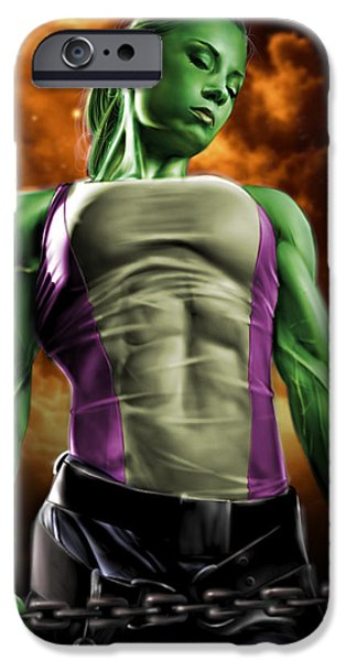 She-Hulk 2 iPhone Case by Pete Tapang