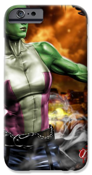 She-Hulk iPhone Case by Pete Tapang