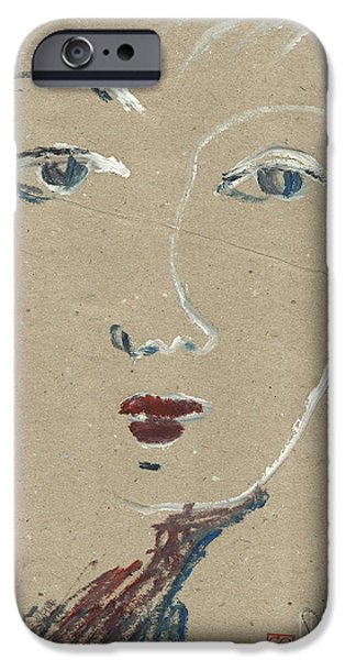 Printmaking iPhone Cases - She knows what you want. A womans face. Blue eyes.  iPhone Case by Cathy Peterson