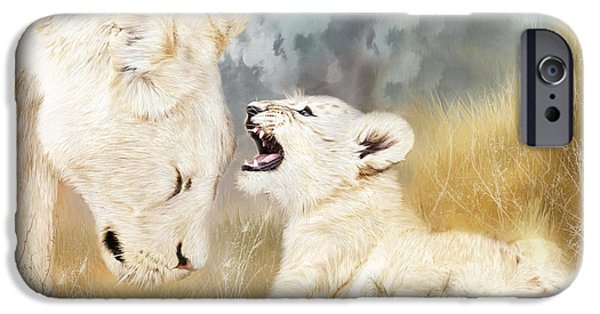 Lion Print iPhone Cases - She Listens iPhone Case by Carol Cavalaris