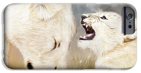 African Lion Art iPhone Cases - She Listens - Square Format iPhone Case by Carol Cavalaris