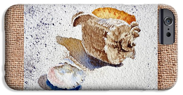 Interior Still Life Paintings iPhone Cases - She Sells Sea Shells Decorative Collage iPhone Case by Irina Sztukowski
