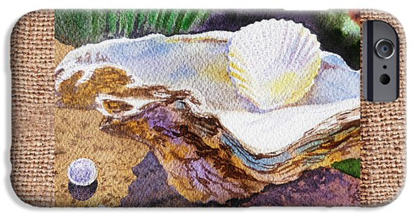 Interior Still Life iPhone Cases - She Sells Sea Shells Decorative Design iPhone Case by Irina Sztukowski