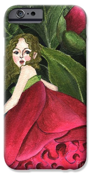 Botanic Illustration iPhone Cases - She Stole A Peony To Wear iPhone Case by Jingfen Hwu