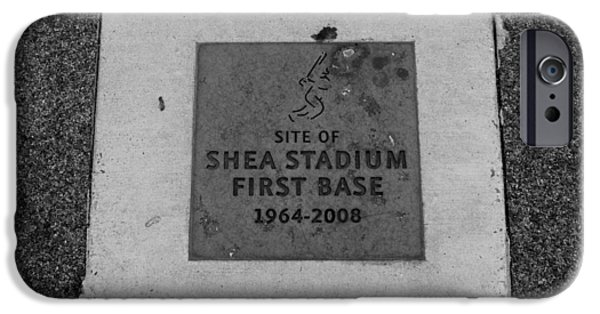 Shea Stadium iPhone Cases - SHEA STADIUM FIRST BASE in BLACK AND WHITE iPhone Case by Rob Hans