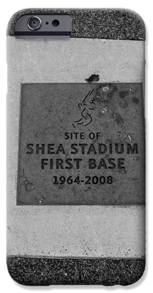 SHEA STADIUM FIRST BASE in BLACK AND WHITE iPhone Case by ROB HANS