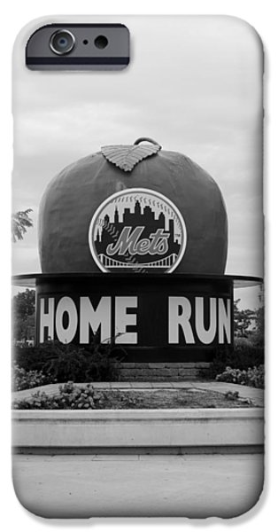 Shea Stadium iPhone Cases - SHEA STADIUM HOME RUN APPLE in BLACK AND WHITE iPhone Case by Rob Hans