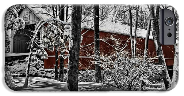 Covered Bridge iPhone Cases - Sheards Mill Covered Bridge 1873 iPhone Case by DJ Florek