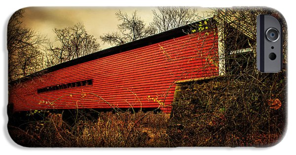Covered Bridge iPhone Cases - Sheeder Hall Covered Bridge 2 iPhone Case by Judy Wolinsky