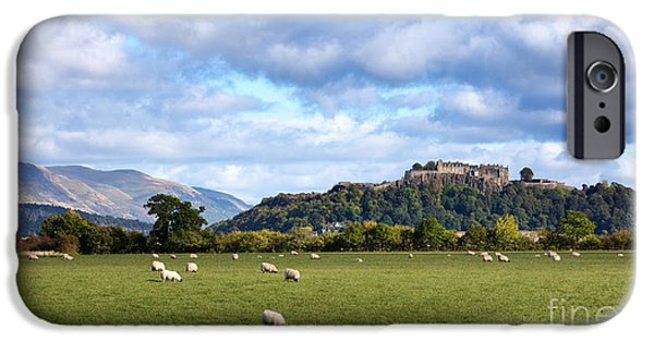 Strength Photographs iPhone Cases - Sheep and Stirling Castle iPhone Case by Jane Rix