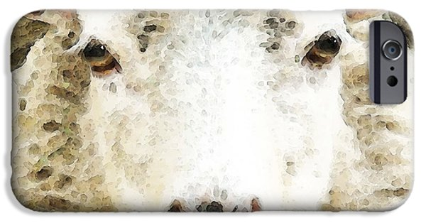 Sheep iPhone Cases - Sheep Art - White Sheep iPhone Case by Sharon Cummings
