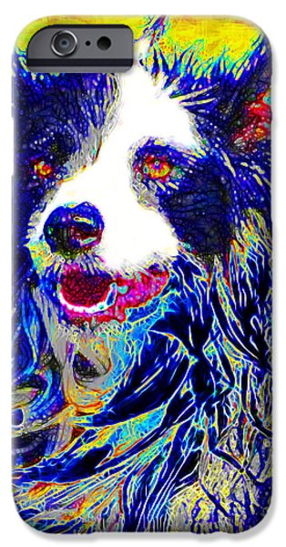 Puppy Digital Art iPhone Cases - Sheep Dog 20130125v1 iPhone Case by Wingsdomain Art and Photography