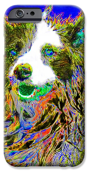 Puppy Digital Art iPhone Cases - Sheep Dog 20130125v3 iPhone Case by Wingsdomain Art and Photography