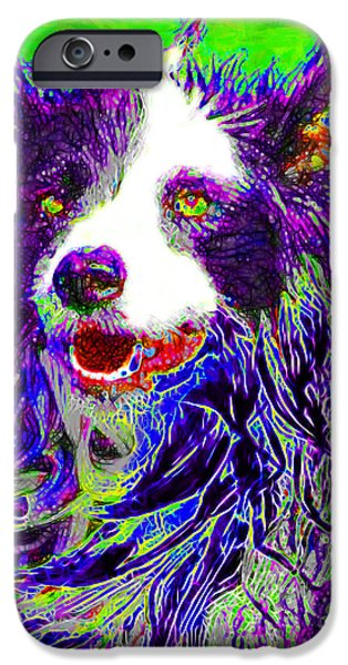 Puppy Digital Art iPhone Cases - Sheep Dog 20130125v4 iPhone Case by Wingsdomain Art and Photography