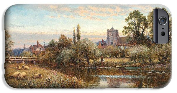 Sheep Grazing iPhone Cases - Sheep grazing before Wrotham Church iPhone Case by Alfred Augustus Glendening