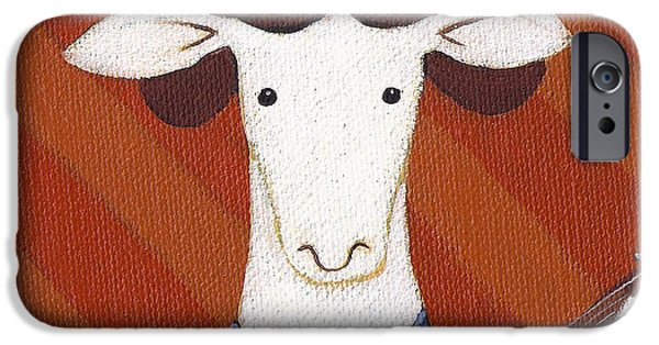 Sheep Paintings iPhone Cases - Sheep Guitar iPhone Case by Christy Beckwith