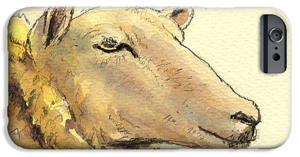 Sheep Paintings iPhone Cases - Sheep head study iPhone Case by Juan  Bosco