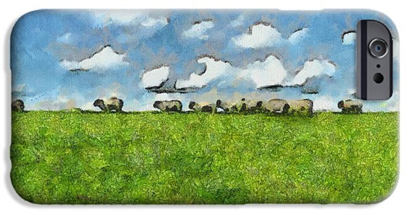 Meadow Drawings iPhone Cases - Sheep Herd iPhone Case by Ayse Deniz