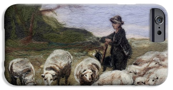 Farm Tapestries - Textiles iPhone Cases - Sheep Herder iPhone Case by Kyla Corbett