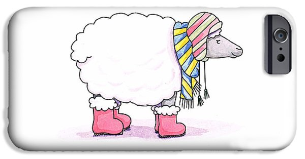 Stripe Drawings iPhone Cases - Sheep in a Scarf iPhone Case by Christy Beckwith